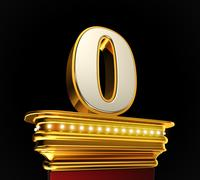 Number zero on golden platform - stock illustration