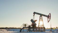 Oil pump (pumpjack) in Russia - stock footage