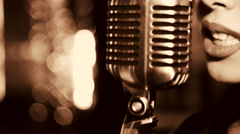 Young beautiful woman singing. - stock footage
