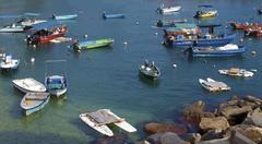 Anchored boats at stanley hong kong Stock Photos