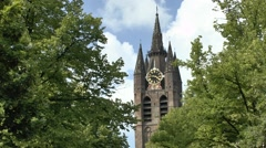 Oude Kerk (Old Church) in Delft, South Holland, Netherlands. Stock Footage