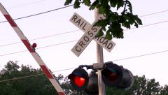 Rising rail road, crossing sign Stock Footage