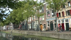 Canal side lie in Delft, South Holland, Netherlands. Stock Footage
