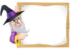 wizard pointing at sign - stock illustration