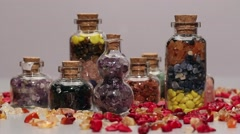 Rotating mini gemstone bottles Stock Footage