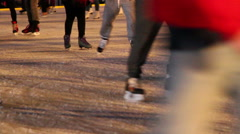 Close up of ice skaters Front view Stock Footage