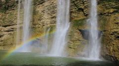 Niludhan Waterfall, beautiful rainbow and diving Stock Footage