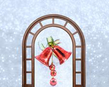 Christmas bells with bow on shiny background snowflakes Kuvituskuvat