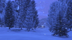 Little cabin in the snowy mountains at night Stock Footage
