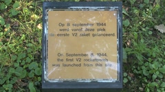 Memorial plaque, launch site of the first V2 on London, Wassenaar, Netherlands. Stock Footage