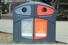 plastic bin to separate trash - stock photo