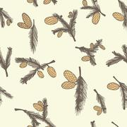 Stock Illustration of fir pine cone seamless pattern
