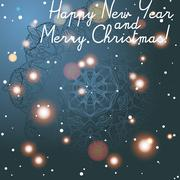 New year greeting card. congratulations on christmas. circle lace hand-drawn  Stock Illustration