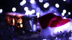 Advent, four candles Christmas decoration and Santa Claus hat Stock Footage