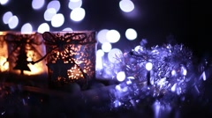 Advent, four candles decorated Christmas tree - stock footage