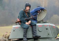 Tankman rest on tower Stock Photos