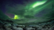 Stock Video Footage of Northern Lights over the frozen Arctic fjord - Svalbard - TIMELAPSE