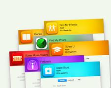 Popular applications by Apple on computer display Piirros