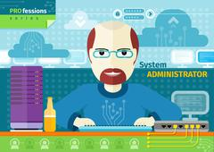System administrator with computer in data centre Stock Illustration