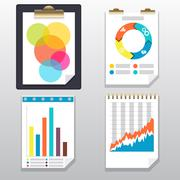 clipboard, charts and graphs on paper page - stock illustration