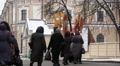 group of religious women worships to Christian god in Kiev, Ukraine .City life i HD Footage