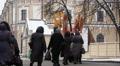 group of religious women worships to Christian god in Kiev, Ukraine .City life i Footage