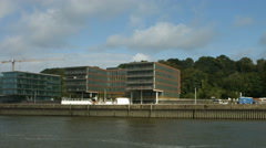 Office buildings Holzhafen Hamburg Stock Footage