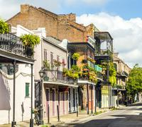 building in the french quarter in new orleans - stock photo