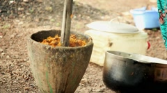 Africa woman cooking Bissau Guinea Bisseau Stock Footage