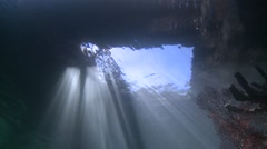 Fantastic view through square in the jetty against the sun Lembeh Strait Stock Footage