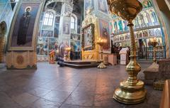 Interior of the assumption cathedral in iversky monastery Stock Photos