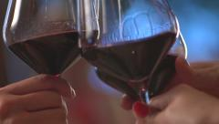 Stock video footage restaurant girls clink glasses red wine Stock Footage