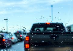 Traffic jam seen through car windshield Stock Photos