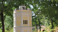 Model of tower in miniature park Stock Footage