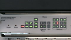View of switch on management module - stock footage
