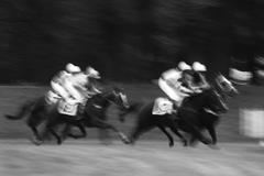Group of racehorse riders, motion blurred image that enhances capture of speed Stock Photos
