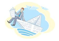 busines man sitting in boat and sailing on river - stock illustration