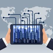 Futuristic city in modern device phone Stock Illustration
