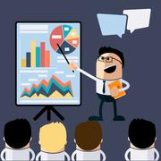 meeting businessman pointing presentation - stock illustration