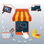 internet shopping concept smartphone with awning - stock illustration