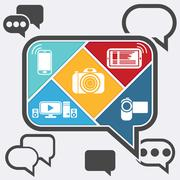 Bubble chatting infographic with icons mobile Stock Illustration