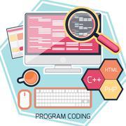 flat design concept of program coding - stock illustration