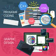 program coding and graphic design - stock illustration