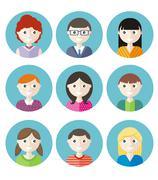 Color avatars teenagers Stock Illustration
