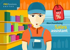 male sales assistant in uniform on his workplace - stock illustration