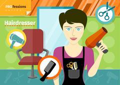 female hairdresser in uniform holding hair dryer - stock illustration