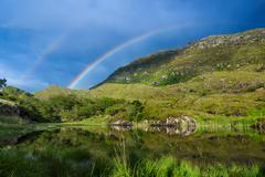 Rainbow over mountain in Ireland, Europe Stock Photos