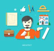 Chief architect with compasses and blueprint Stock Illustration
