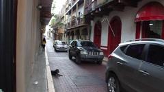 Panama Old City Street Scene - Casco Viejo - stock footage