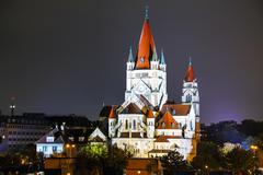 St. francis of assisi church in vienna, austria Stock Photos